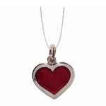 Red Enamel Heart Pendant with Chain