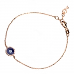 Rose Gold Evil Eye Bracelet with Brilliant White Diamonds