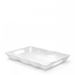 Ruffle White Melamine Large Rectangular Tray