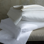 Savoia Stripe Sateen White Standard Pillowcases, Pair