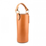 Tan Insulated Leather Wine Tote