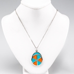 Turquoise and Orange Jockey Hat Pendant