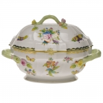 Queen Victoria Green 2 Quart Tureen with Branch Handles