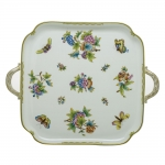 Queen Victoria Green Square Tray with Handles
