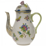 Queen Victoria Blue Coffee Pot with Rose