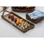 Rattan/Glass Small Cocktail Serving Tray