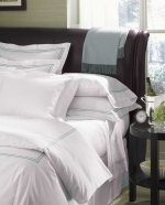 Grande Hotel White/Navy King Flat Sheet