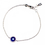 White Gold Evil Eye Bracelet with Brilliant White Diamonds