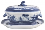 Blue Canton Octagonal Tureen and Stand