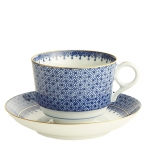 Blue Lace Tea Cup and Saucer