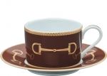 Cheval Chestnut Brown Tea Cup and Saucer