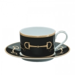 Cheval Black Tea Cup and Saucer