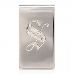 Sterling Silver Money Clip with Hand Engraved \S\