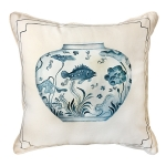 Hand Painted Fish in Bowl Pillow