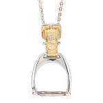 Gold and Sterling Silver Stirrup Necklace