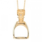 Gold Stirrup Pendant with Chain