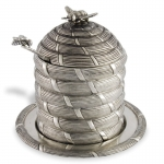 Pewter Bee Hive Honey Pot with Spoon