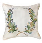 Hand Painted Oak Laurel Wreath Pillow
