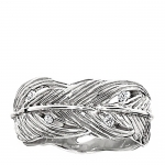 Platinum and Diamond Feather ring size 6