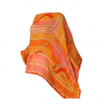 Orange Printed Cashmere Poncho