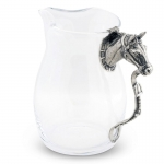 Horse Head Pitcher This stylish heavy glass pitcher is embellished with a pewter figural Thoroughbred Horse head