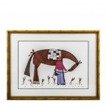Ellen Skidmore Framed Print of a Girl Feeding a Horse an Apple