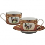 American Wildlife Pheasant/Doe Tea Cup and Saucer